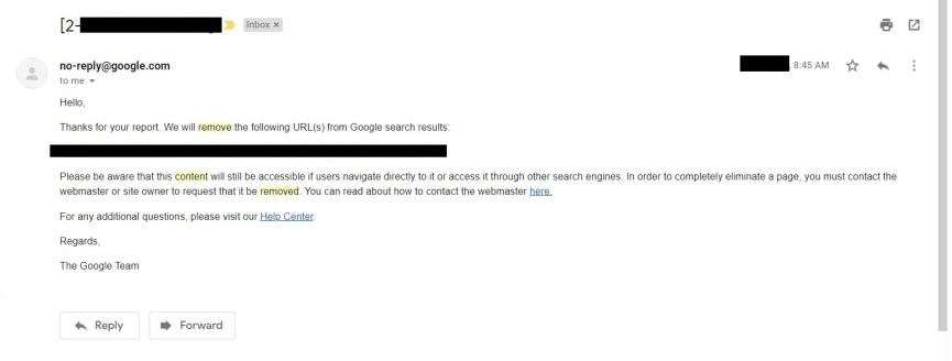 content removal from Google