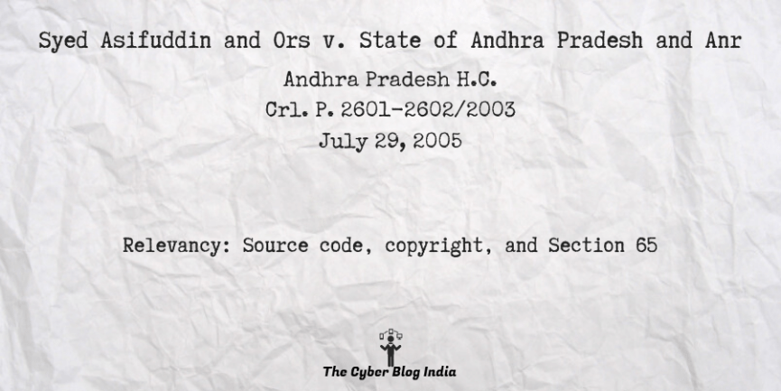 Syed Asifuddin and Ors v. State of Andhra Pradesh and Anr