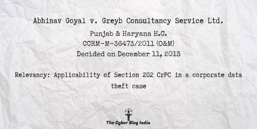 Abhinav Goyal v. Greyb Consultancy Service Ltd.