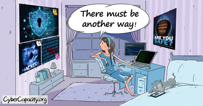 A girl looks at blue cyber security posters thinking there must be a better way to visualise cyber security. This blog supports the Hewlett Foundation's #CyberVisualsChallenge.
