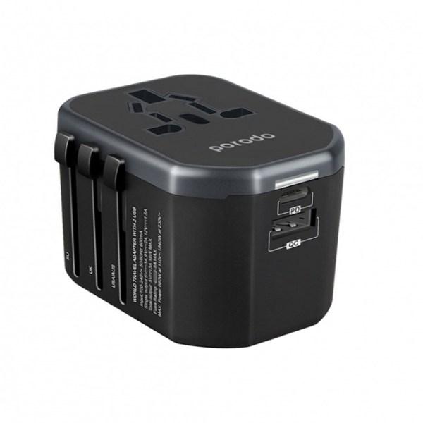 porodo dual port universal travel charger qc3.0 1