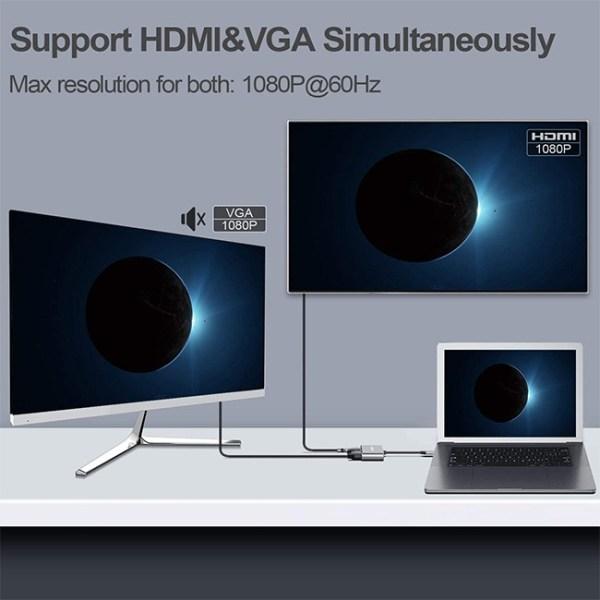CLDAY Type C to 4K HDMI VGA USB 3.0 Hub Adapter 4