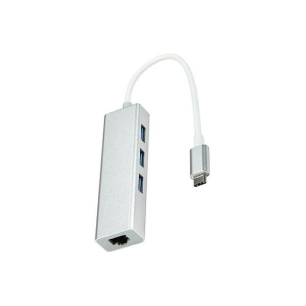 Type C to RJ45 Ethernet Port 3 Port USB Hub Adapter