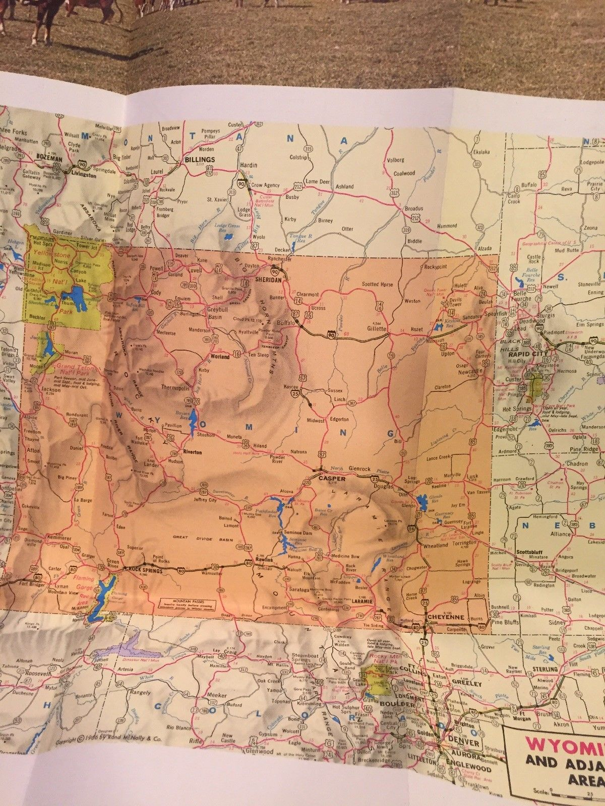 1966 WYOMING STATE HIGHWAY COMMISSION Road Interstate Map Rand McNally Topo