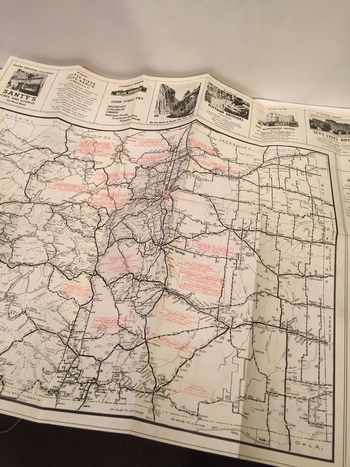 1929 COLORADO HIGHWAY MAP Published by United States Tourist Service Denver
