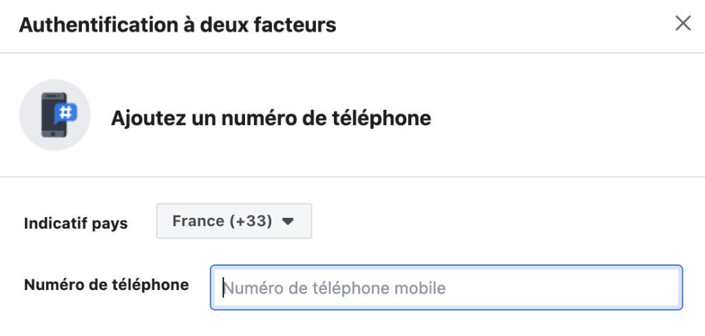 Facebook,double authentification
