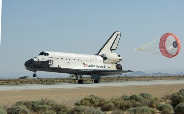 Space shuttle Atlantis lands at Edwards Air Force Base in California, completing the final servicing mission to the Hubble Space Telescope. Image Credit: NASA TV