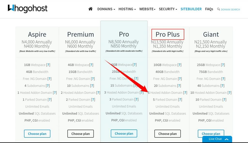 whogohost hosting plan package