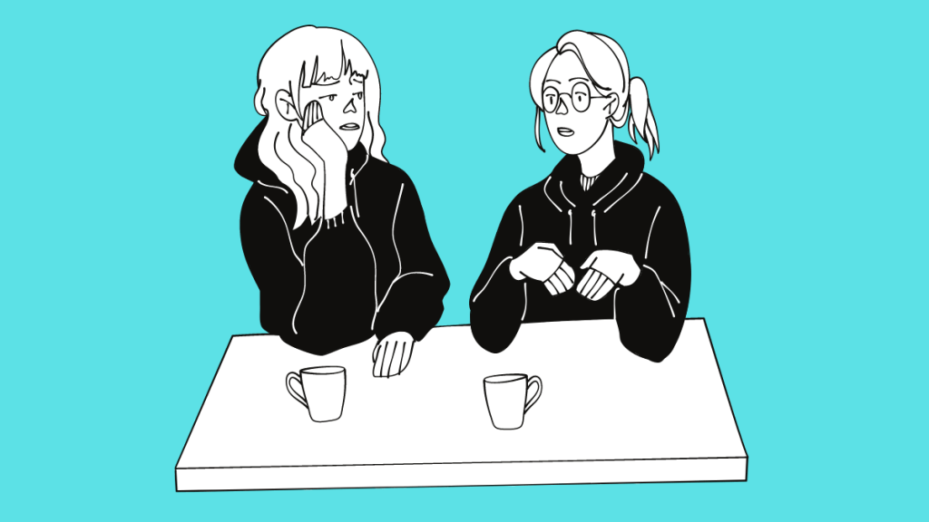 two sisters having a discussion