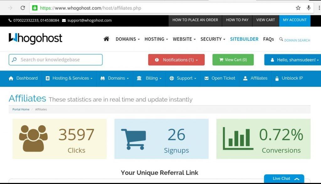 my whohost affiliate earning dashboard
