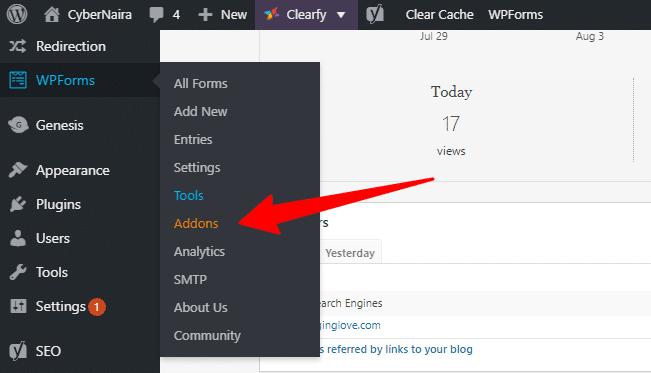 WPForms Addon navigational menu in WordPress admin area