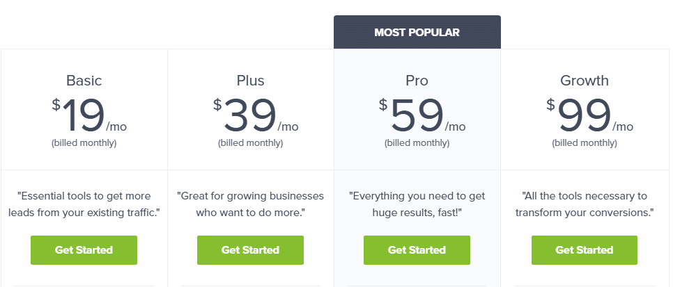 optin monster monthly pricing table and plans