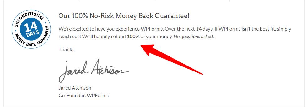 wpforms 14-day guarantee image