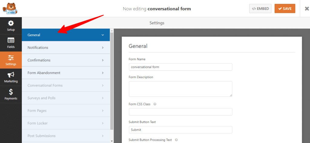 illustration image for general setting option in woforms