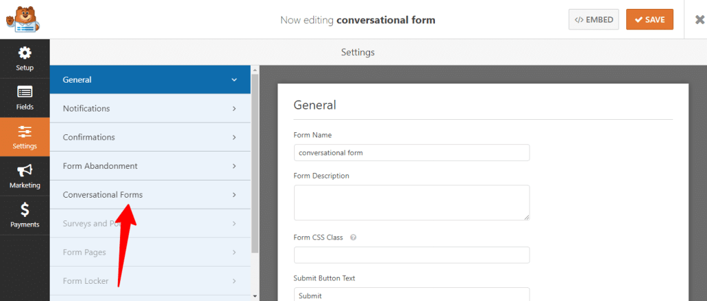 selecting conversational form addon in wpforms
