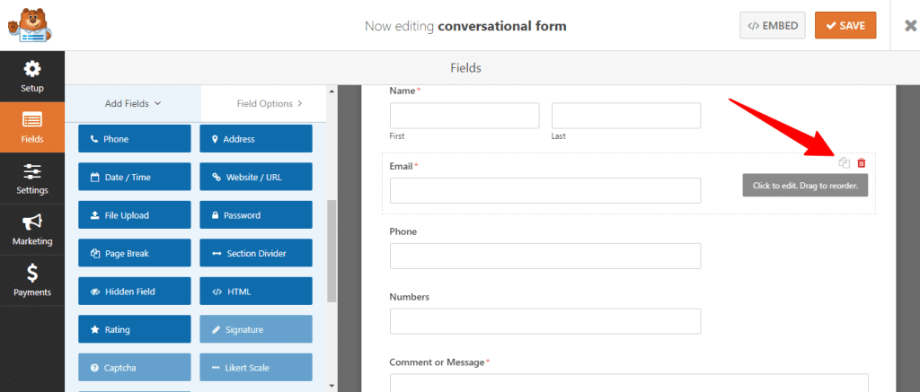 illustration form field delete option in wpforms