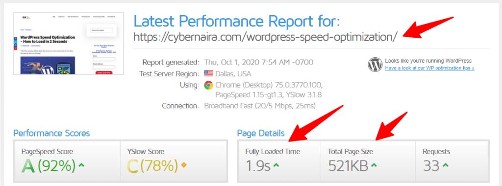 Gtmetris score for a post on the cybernaira blog