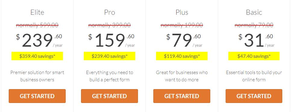 WPForms pricing table