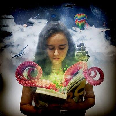 girl reading octopus in book