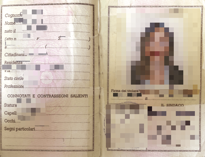italian passport scan sample
