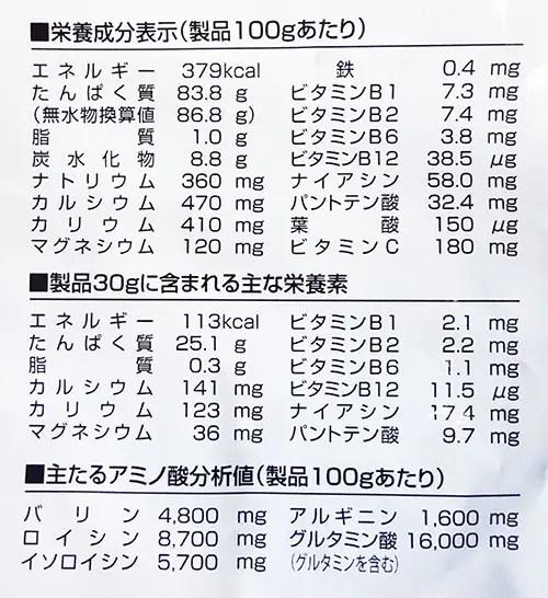 GOLD'S GYM ホエイプロテイン プラス ペプチド&ビタミンBの成分