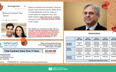 Fairfax County increases five-year contract to $2.4 million to Panorama Education, a government contractor cofounded by son-in-law of U.S. Attorney General