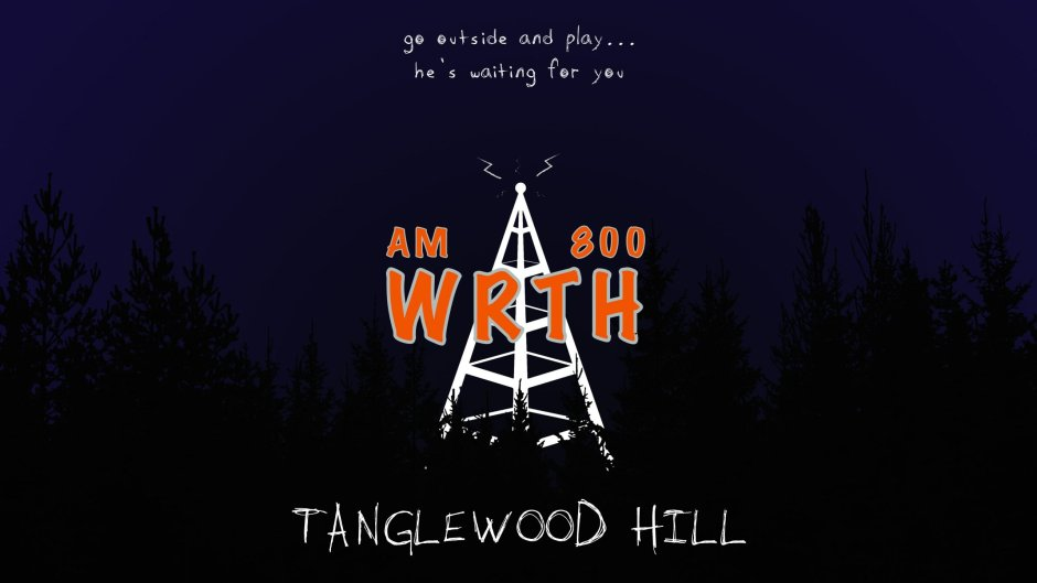 The logo for WRTH - Tanglewood Hill. A ghostly radio tower rises above a dark forest.
