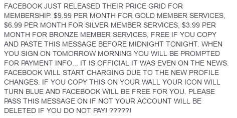 Facebook hoax: Facebook just released their price grid (2016)