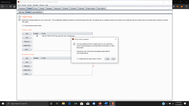 Adding a target to a scope in Burp Suite