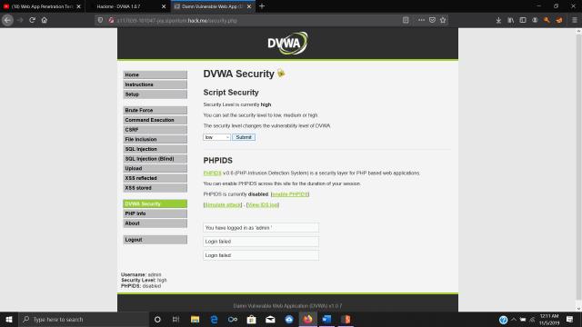 DVWA security setting
