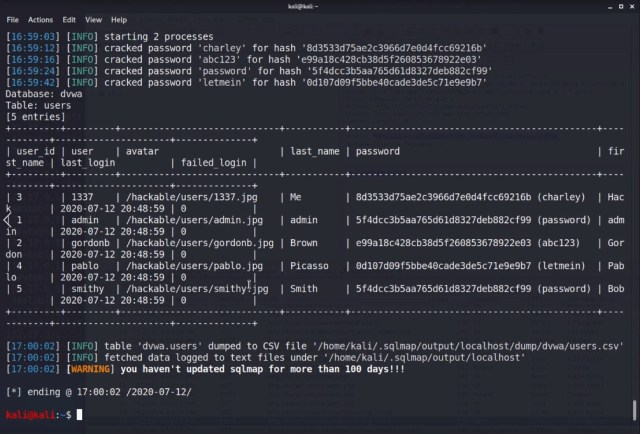 DVWA database passwords cracking