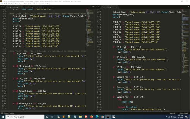 Python subnet calculator input function second screenshot