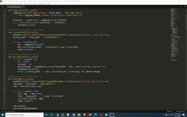Code for the different functions