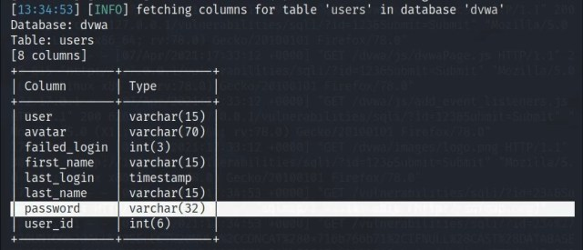Showing sqlmap enumerating the users table of the DVWA