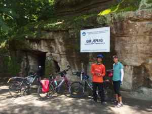 Caves built during the Japanese occupation to house munitions. The signs are new.
