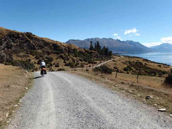 View of Lake Wakatipu from the dirt track after Walter Station
