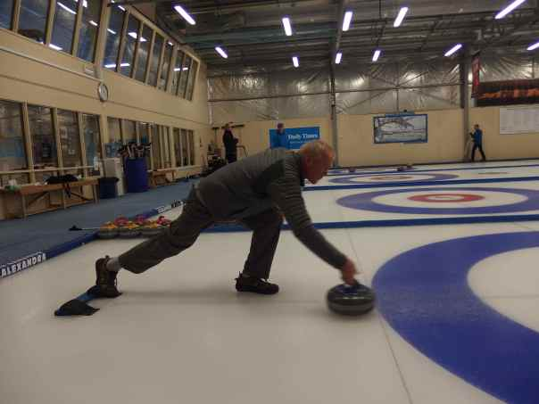 Eric practicing his curling technique.