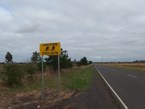 We appreciated the extra advice for passing motorists. This is the scenery near Lara.