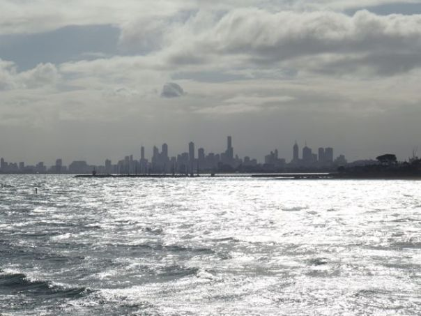 Looking across Phillips Bay to Melbourne