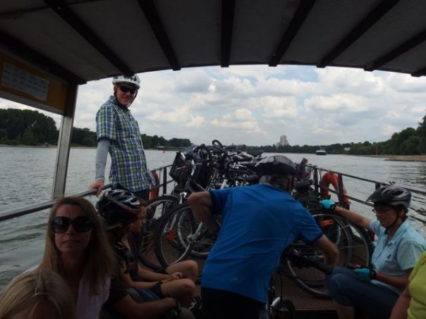 A small passenger and bicycle ferry to cross the Rhine River.