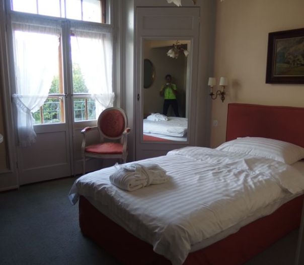 Loved this hotel room with the heavy double French doors and a small balcony.
