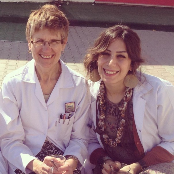 With my Malatya co-teacher and friend Seda in our lab coats at school.