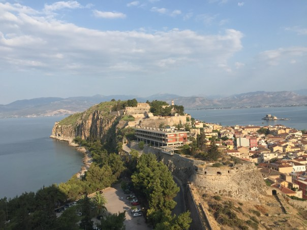 A view of the Nafplio peninsula as seen from the Palamidi Fortress. The climb itself it fun and beautiful.