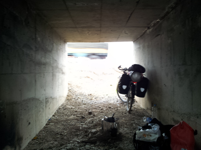 One of many lunches eaten under a bridge