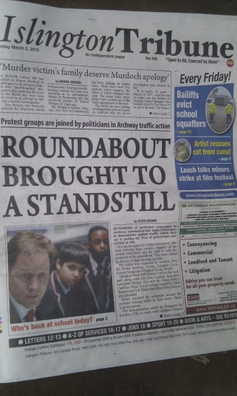 Islington Tribune front page - March 2nd 2012