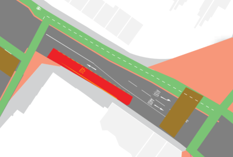 Space for cycling and accomodating more suitable bus stop by providing bidirectional on southern arm
