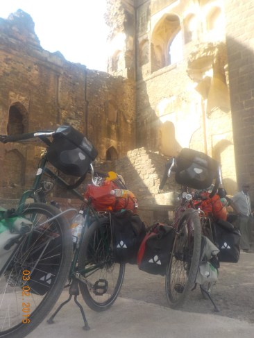 these bikes are simply too cool, chilling in the shade of Karnataka Castle