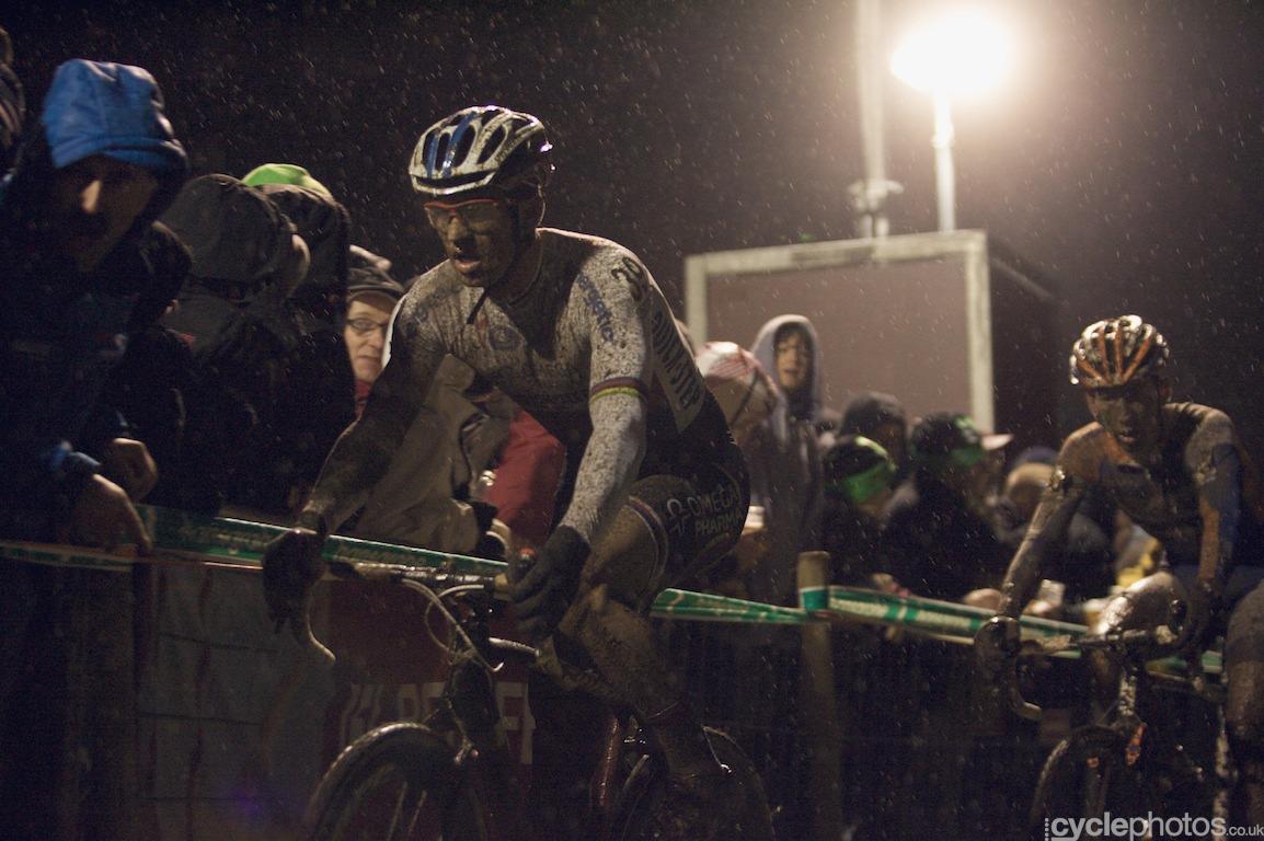 Zdenek Stybar attacks in the last lap of the 2012 Superprestige race in Diegem.