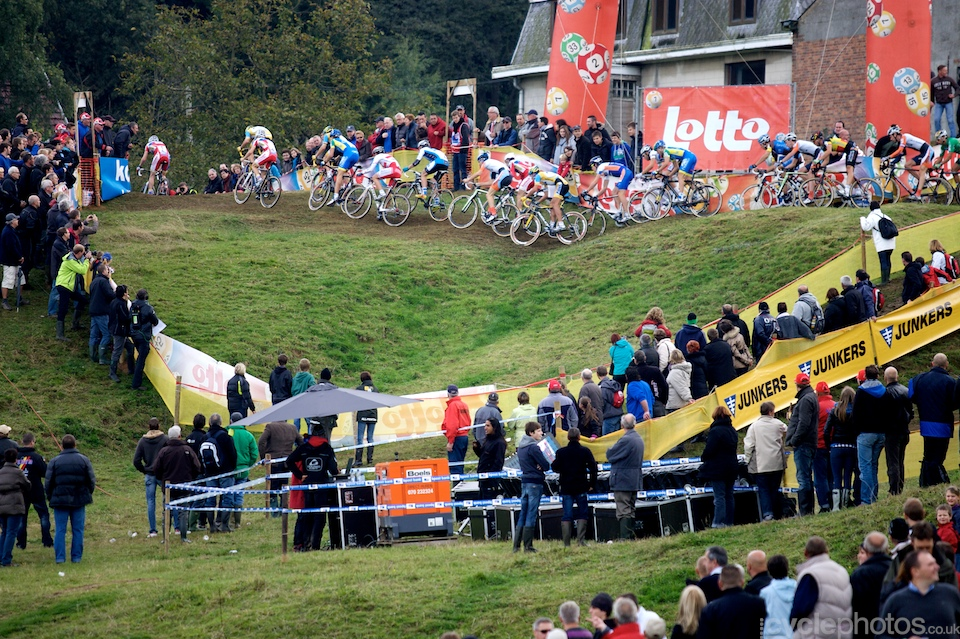 The start of the elite men's race of the first round of the Bpost Trofee cyclocross race in Ronse, Belgium.