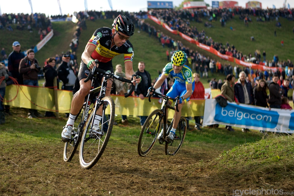 Sven Nys chases the leading duo during the first round of the Bpost Trofee cyclocross race in Ronse, Belgium.